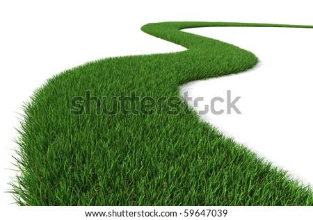 Green Grass path - stock photo