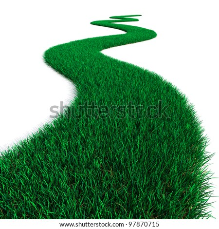 Green Grass path - stock photo