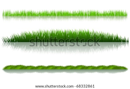 green grass set over white background