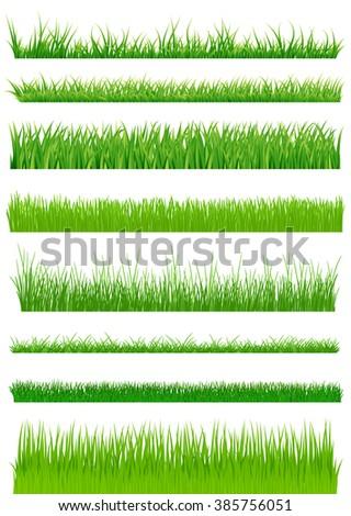 Green grass set. raster illustration. Raster - stock photo