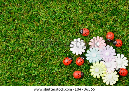 Green grass spring garden with ladybugs and flower - stock photo