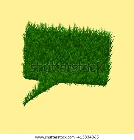 Green grass square speech bubble. Summer and spring concept. Rasterized version. - stock photo