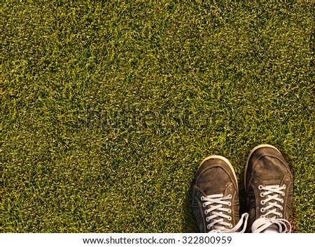 Green grass texture from a soccer field - stock photo