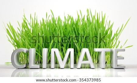 Green grass with Climate 3D text, isolated on white background. - stock photo
