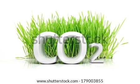 Green grass with CO2 3D text ecological concept isolated - stock photo