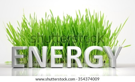 Green grass with Energy 3D text, isolated on white background. - stock photo