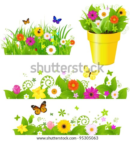 Green Grass With Flowers Set, Isolated On White Background - stock photo