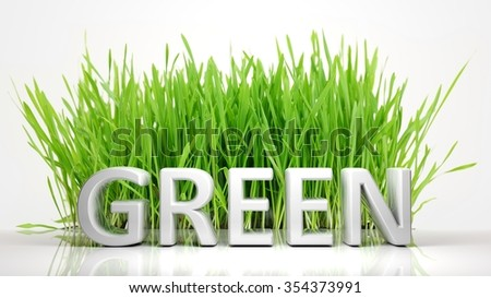 Green grass with Green 3D text, isolated on white background. - stock photo