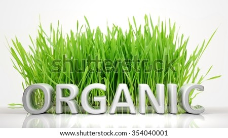 Green grass with Organic 3D text, isolated on white background. - stock photo