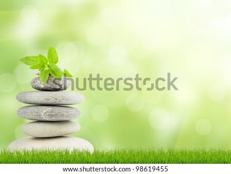 Green grass with stones, natural background with selective focus. spa concept - stock photo