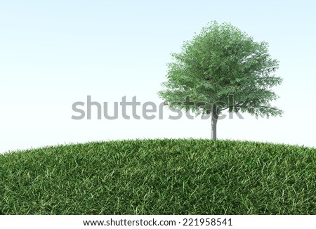 green grass with tree - stock photo