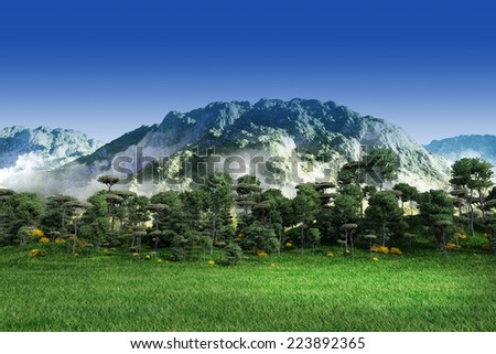 Green grass with trees, mountain and blue sky - stock photo