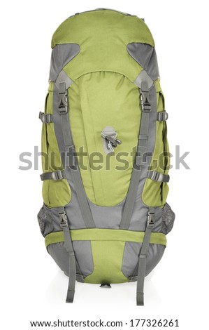 Green-gray backpack for extended trips into the outdoors. Unisex - 65 LT