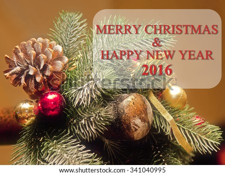 Green greeting card with Christmas and New Year with fir tree