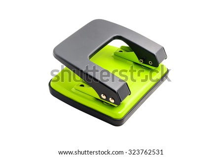 Green grey paper hole puncher isolated on white background