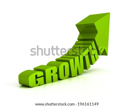 green growth text arrow on white background. success oncept 3d render illustration - stock photo