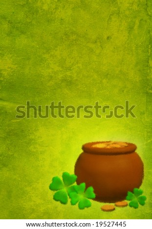 Green grunge background with a pot and clovers