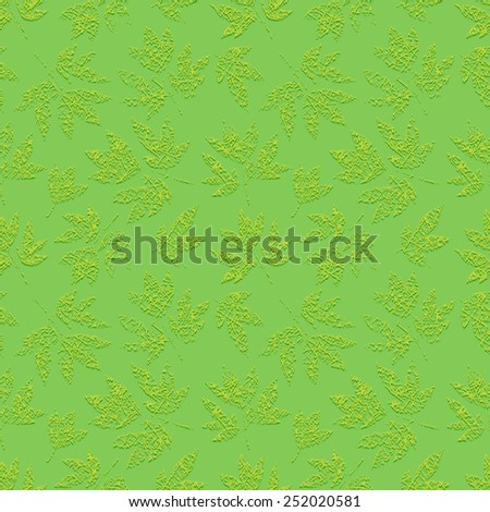 Green grunge floral seamless pattern with embossed print of scratched leaves peony