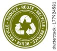 Green Grunge Style Reduce, Reuse and Recycle Icon, Badge, Label or Sticker for Save The Earth, Conservation or Recycle Concept Isolated on White Background  - stock vector