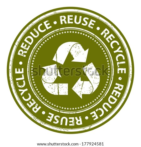 Green Grunge Style Reduce, Reuse and Recycle Icon, Badge, Label or Sticker for Save The Earth, Conservation or Recycle Concept Isolated on White Background  - stock photo