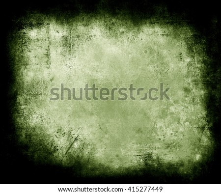 Green Grunge Texture Background With Frame, abstract scratched background with faded central area for your text or picture - stock photo
