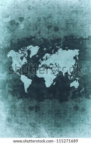 green grunge world map - stock photo