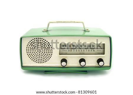 Green grungy retro radio on  isolated white background