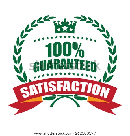 Green 100% Guarantee Satisfaction Wheat Laurel Wreath, Ribbon, Label, Sticker or Icon Isolated on White Background - stock photo