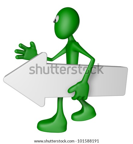 green guy carries white arrow - 3d illustration - stock photo