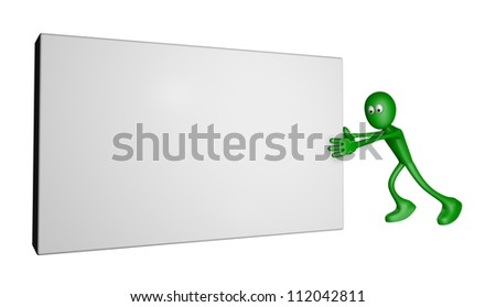 green guy pushes blank box - 3d illustration