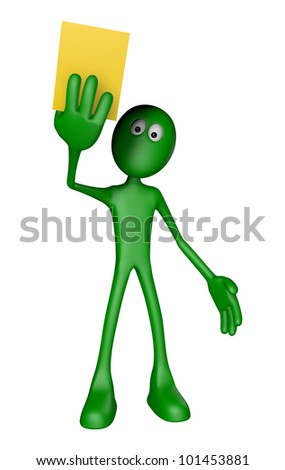 green guy shows yellow card - 3d illustration