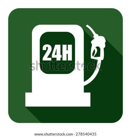 Green 24h Petrol Station, Filling Station Flat Long Shadow Style Icon, Label, Sticker, Sign or Banner Isolated on White Background - stock photo