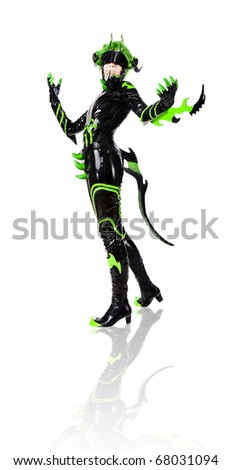 green haired girl dressed as an insect. isolated over white