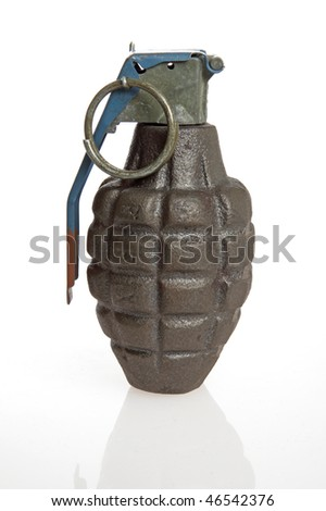 Green hand grenade on white background.