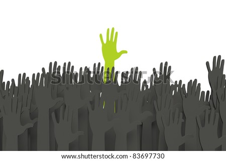 Green hand standing out with clipping path - stock photo