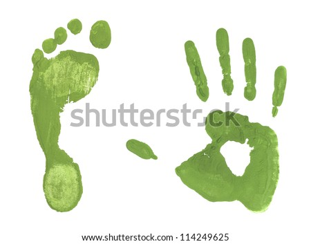 Green handprint colored  inks footprints - stock photo