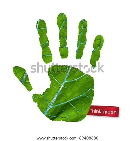 Green handprint made from leaf. Think Green. Ecology Concept. - stock photo