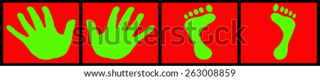 green hands and feet on red background - stock photo