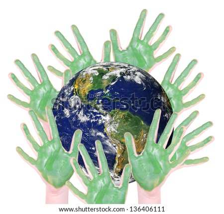 green hands around a globe, isolated on white: parts of this image furnished by NASA - stock photo