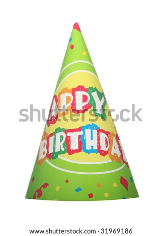 Green happy birthday party hat isolated on white background - stock photo