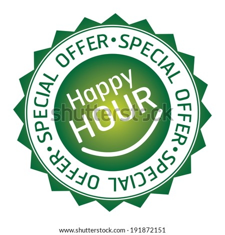 Green Happy Hour, Special Offer Icon, Label, Badge or Sticker Isolated on White Background