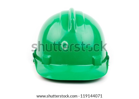 green hardhat isolated on white - stock photo