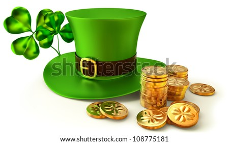 green hat, shamrocks and set of gold coins as a symbols of St. Patrick's Day - stock photo