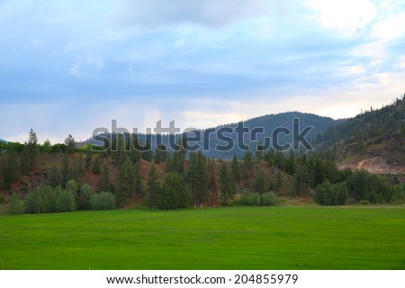 Green hayfields against mountain and dark stormy skies - stock photo