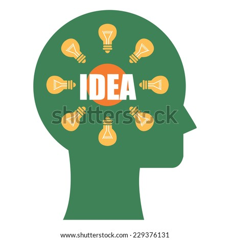 Green Head With Idea and Light Bulb Inside Icon or Label Isolated on White Background  - stock photo