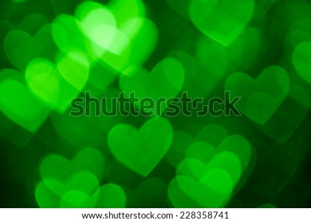 green heart shape photo holiday background - stock photo