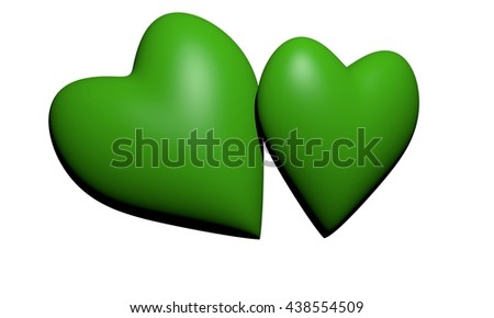 Green hearts, 3D hearts rendering, Two green Heart Shape ,Valentine's Day and Love Symbol. isolated on White Background. - stock photo