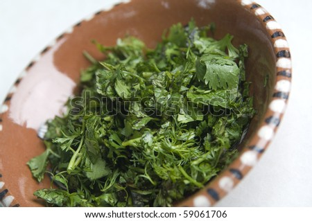 Green herbs in a bowl