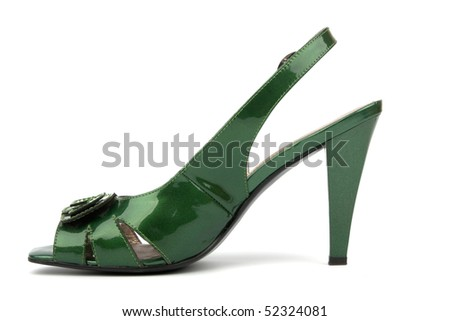 Green High Heels Shoe isolated on white background - stock photo