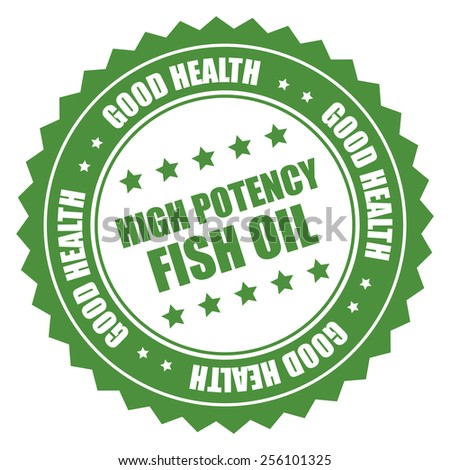 green high potency fish oil good health sticker, badge, icon, stamp, label isolated on white  - stock photo